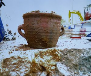 Excavated mediaeval cooking pot