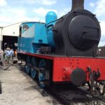 Thomas the Tank Engine waiting for his face